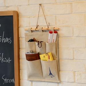 Image 5 - Creative toile coton stylo lunettes portefeuille ciseaux lettre tenture murale maison bureau sac de rangement CU