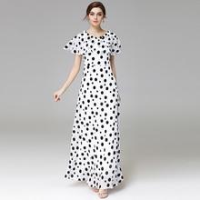 a3a230019caa High Quality 2017 Summer Beach Maxi amazing Dress Women's Cloak Sleeves  Casual Boho Black White Polka