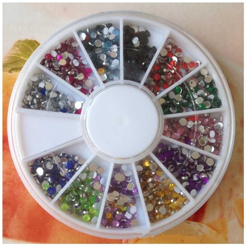 2017 Most Fashionable Nail Decoration 12 Colors 2mm Manicure Round Diamond Jewelry Nail Sticker