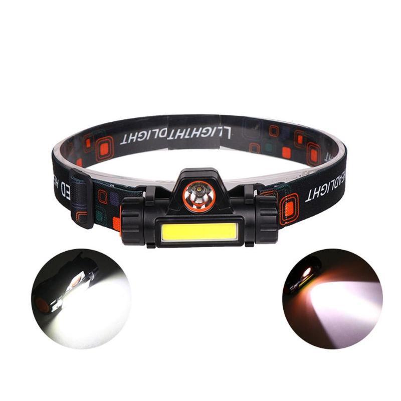 Mini COB LED Headlight Headlamp Flashlight USB Rechargeable 18650 Torch Camping Hiking Night Fishing Light