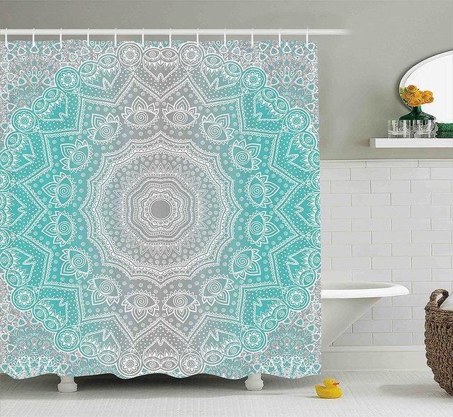 Grey And Turquoise Shower Curtain By Ambesonne, Primitive Spiritual Essence  And Universe Harmony Mandala Ombre