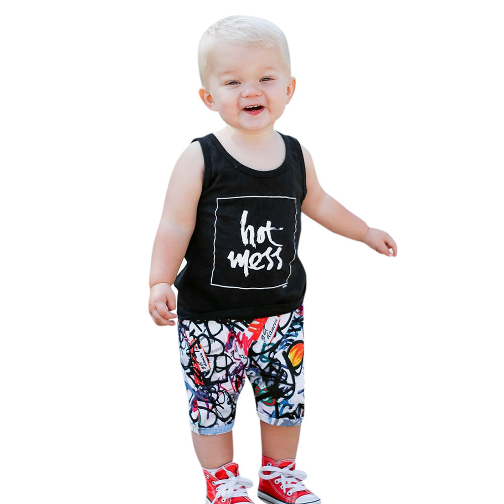 e72d43f7cfc MUQGEW Brand New Boys Summer Cute Clothing Suit Kids Boys Outdoor Clothes  Kids Clothing Set Letter Pattern Toddler Boys Vest-in Clothing Sets from  Mother ...