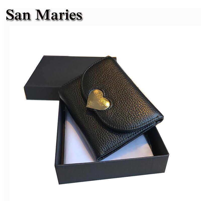 San Maries Yeni Varış Cüzdan Kısa Kadın Cüzdan Hakiki Deri Kalp Hasp Güzel Kızlar Çanta Para Kart Cüzdan