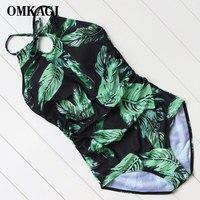 OMKAGI 2017 One Piece Swimsuit Deep Backless Monokini Bandage Leaf Bathing Suit Female Beachwear Printed Swimwear