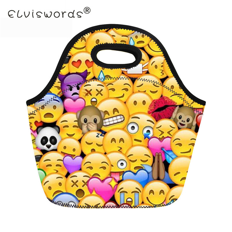 ELVISWORDS Emoji Print Student Insulated Lunch Bags Men Women Cartoon Food Cooler Bag Children Warm Large Box for Kids Girls