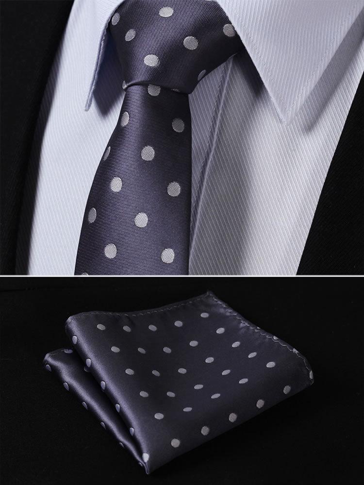 """100% QualitäT Td1002a7-t3 Grau Polka Dot 2,75 """"100% Seide Jacquard Gewebt Klassische Dünne Schmale Mann-riegel-krawatte Einstecktuch Einstecktuch Set"""