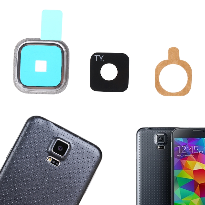 1 Set Rear Camera Lens Glass Cover + Metal Frame + Sticker For Samsung Galaxy S5