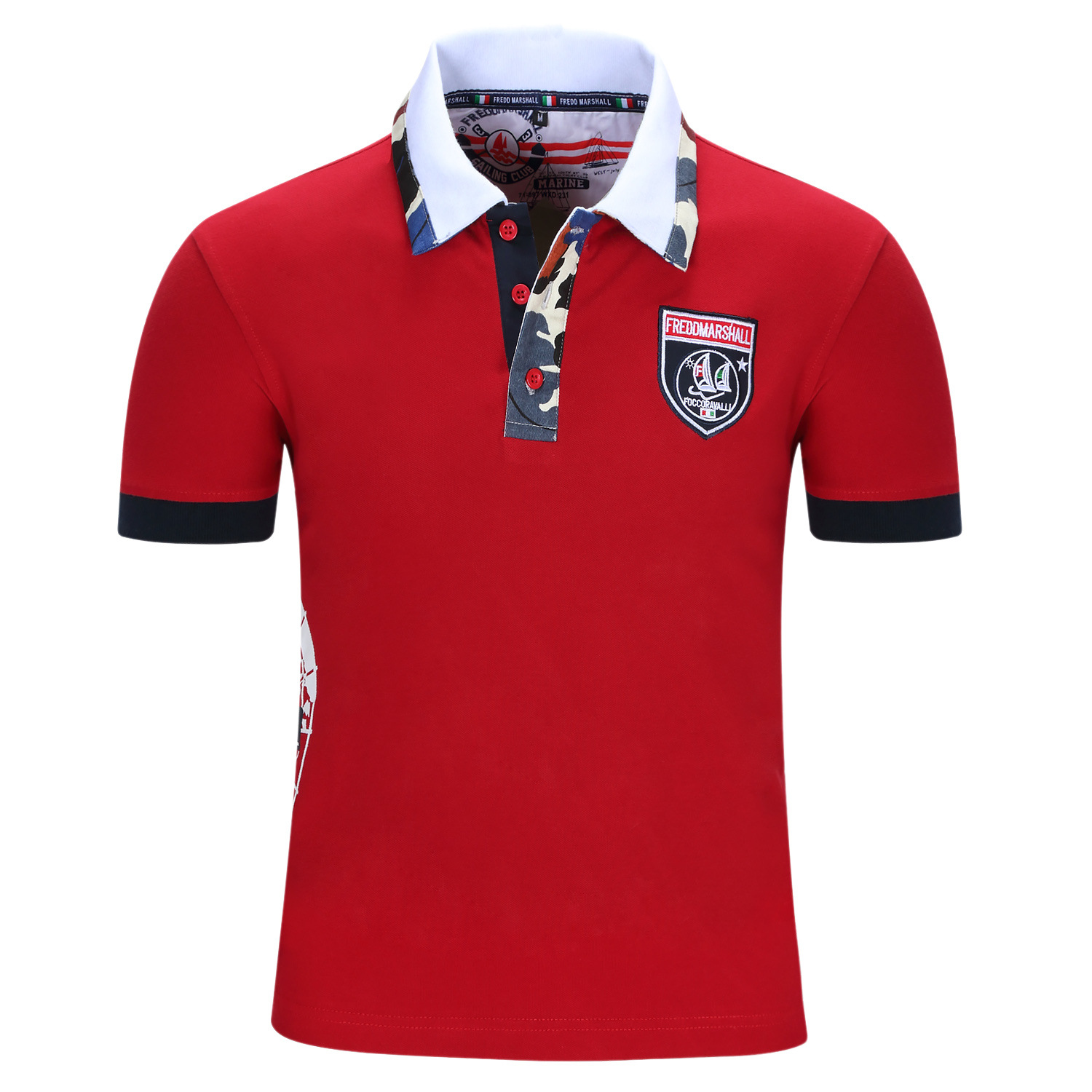 Designer Polo Shirt Men's Fredd Marshall Summer Cotton Mens Casual Polo Shirt Blue Red Short Sleeve Cool Name Brand N18