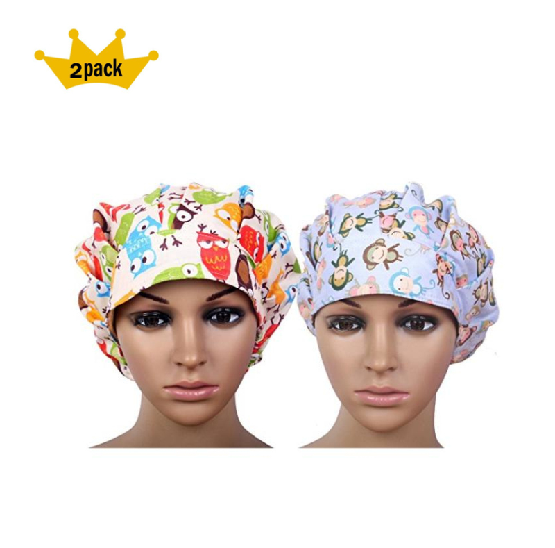 2017 Special Promotion Sale 2pcs Pack Doctor Scrub Cap Women's Bouffant Surgical Hat With Sweatband Inner For Women Long Hair