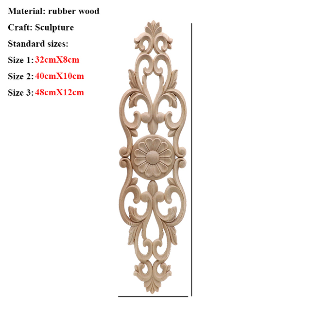 Unpainted Wood Oak Carved Wave Flower Onlay Decal Corner Applique for Home Furniture Decor Decorative Wood Carved Long Applique 2