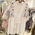 Небо мечта летнее платье 2016 плюс размер женщин clothing 5xl большой размеры новые Свободные показать тонкие тяжелая вышивка половина рукав рубашки