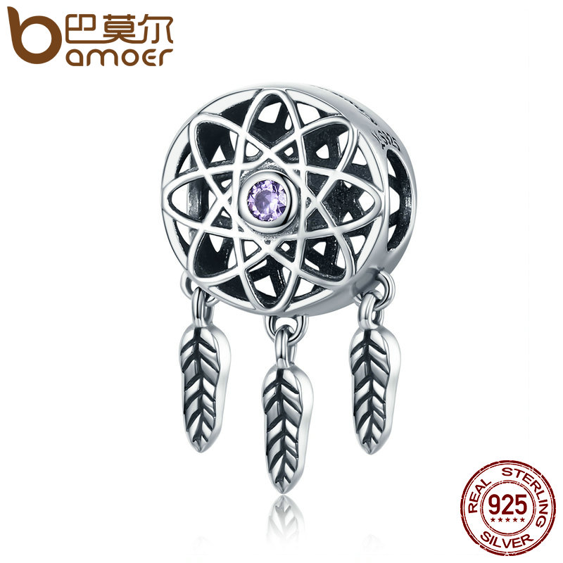 BAMOER Hot Sale Genuine 925 Sterling Silver Beautiful Dream Catcher Holder Beads fit Charm Bracelet Necklace DIY Jewelry SCC330