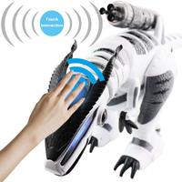 Dinosaur Toys RC Robot Intelligent Interactive Smart Walking Dancing Singing Electronic Pets Education Kids Toys white Grey