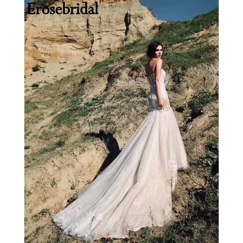 b12eabd79 Detail Feedback Questions about Erosebridal Contrast Color Mermaid Wedding  Dress 2018 Low Sweetheart Robe De Mariee with Chapel Train Lace Up Back  Custom ...