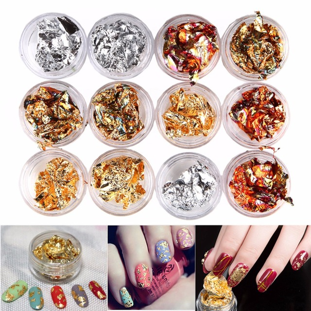 12 Bo Nail Art Gold Silver Paillette Flake Chip Foil Kit Acrylic Gel Polish Tips 3d