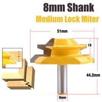 1PC 8mm Shank 45 Degree Up To 3 4 Stock Medium Lock Miter Router Bit