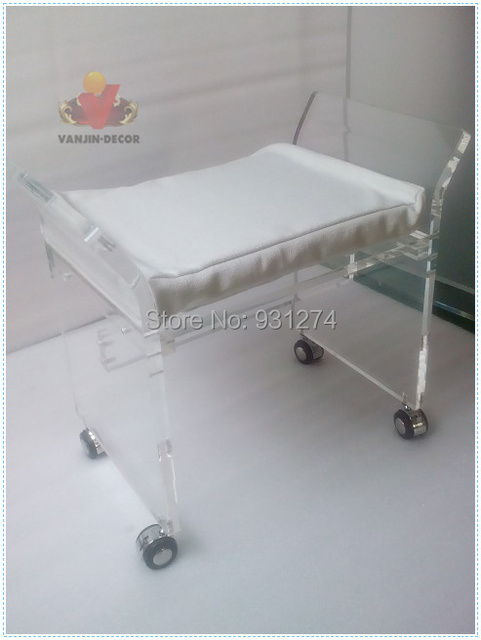 Free Shipping Folding Modern Fashion Acrylic Bench With Wheels For One Person Leisure Footstool Vanity Stool