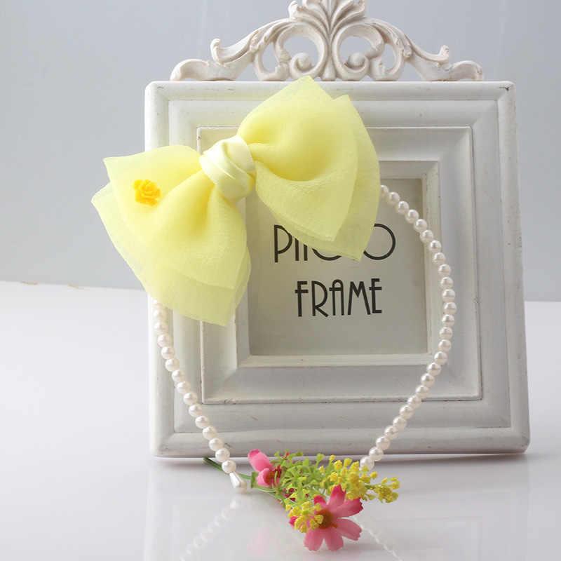 M MISM 1PC חדש שיפון קשת גדולה פרח פניני שיער להקת עבור בנות נסיכה מתוק סרט שיער אביזרי קשת -קשר שיער חישוק