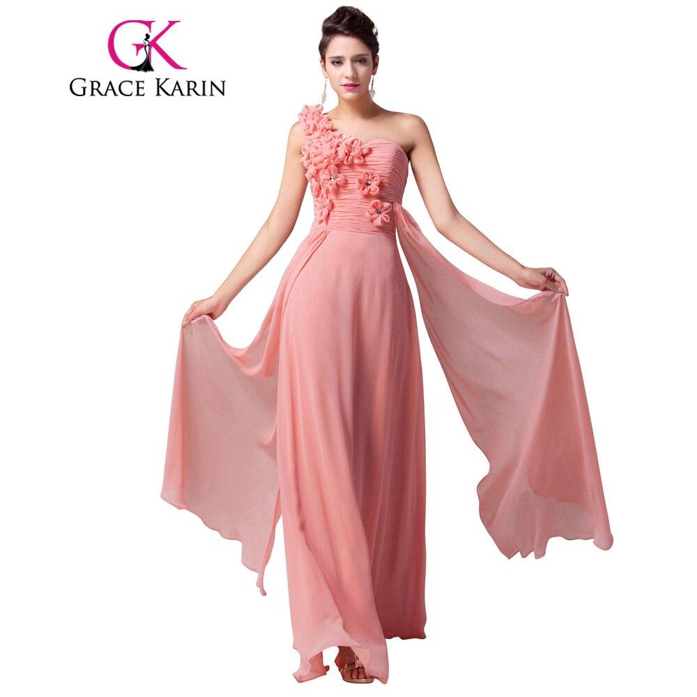 Gracia Karin Vestidos de Noche Largo de Un Hombro Color de Rosa ...