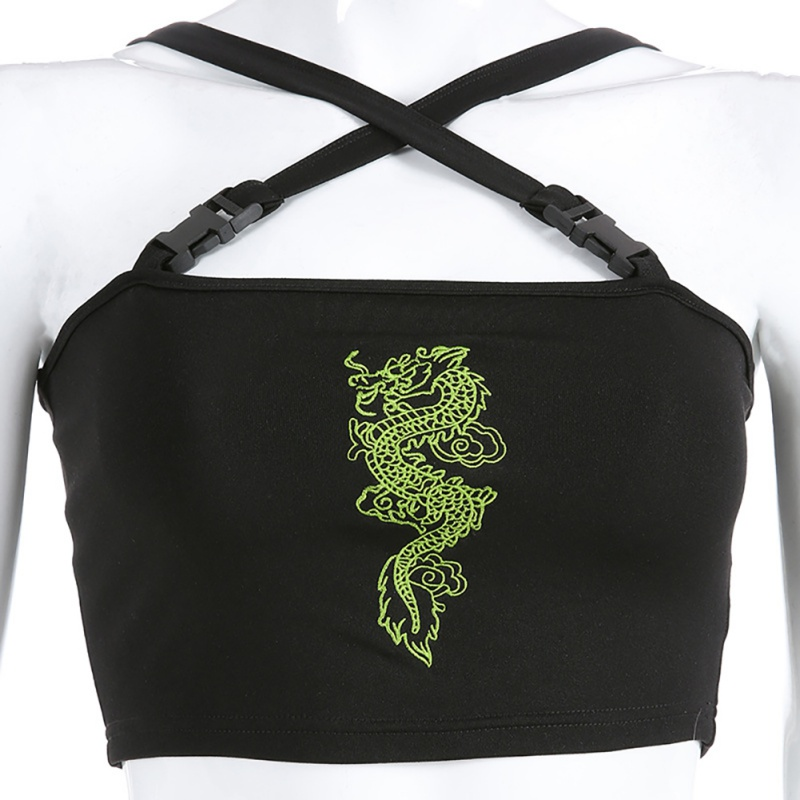 2019 Fashion Buckle Black Dragon Embroidery Tank Top Women Cropped Streetwear Sexy Tank Tops Summer Bralette Crop Top in Tank Tops from Women 39 s Clothing