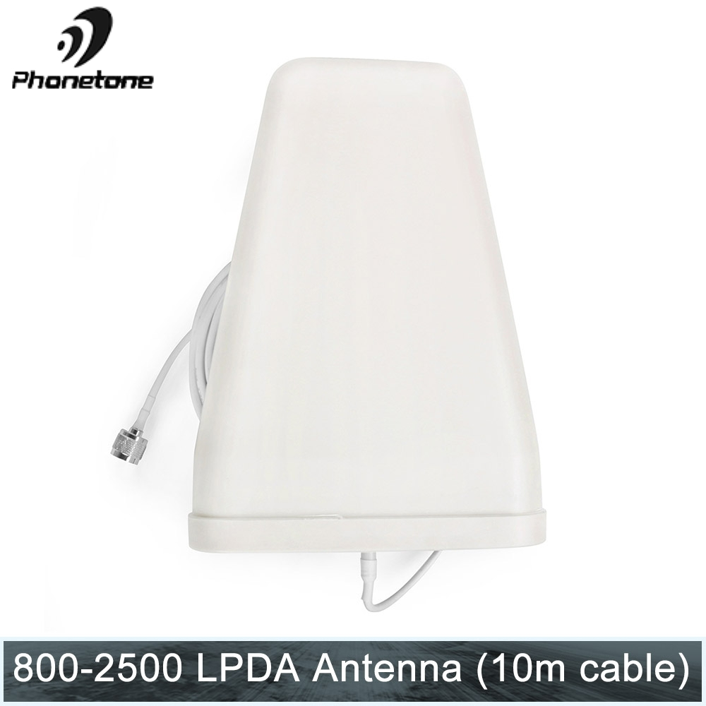 Directional LPDA Antenna Gain 800-2500MHz 10dBi Outdoor For Cellular Signal Booster Communication Amplifier + N Male & 10m Cable