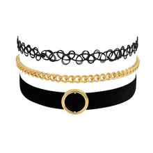 3 Pcs/pack Choker Necklace New Gothic Retro Vintage Lace Flower Triangle Tattoo Chocker Women Handmade Multilayer chokers
