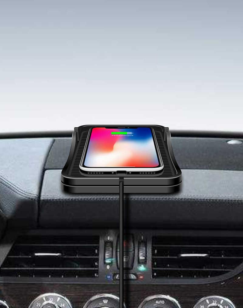 سنادات بالسيارة تشى اللاسلكية حامل شاحن الوسادة آيفون XS 8 شحن لاسلكي سريع حامل هاتف محمول على لوحة القيادة قاعدة لتثبيت الكمبيوتر المحمول لسامسونج
