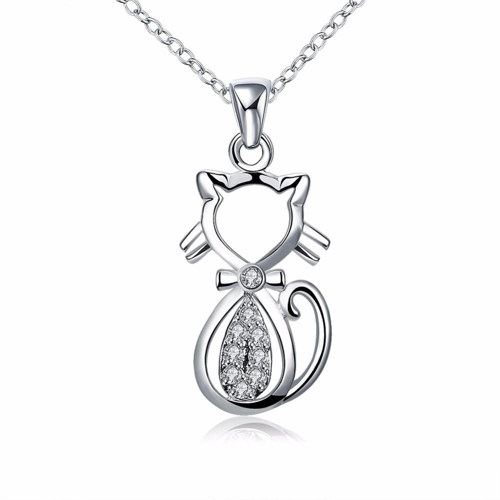 Горячая 925 ожерелье минималистский полый кулон кошка инкрустированные Белый циркон дамы ожерелье Дикие аксессуары