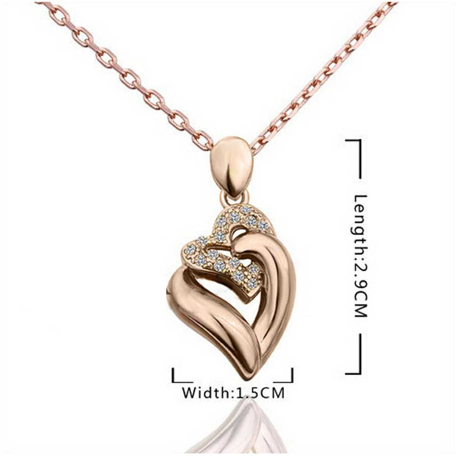 Women's  Gold Filled shine Austrian Crystal heart shape Chain Necklace Earrings rings Jewelry Sets women gift