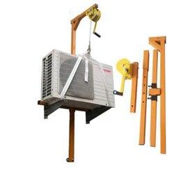 Acero inoxidable Manual, herramienta de elevación de instalación exterior, grúa, plegado, montaje de cabrestante manual de bloqueo automático aire acondicionado