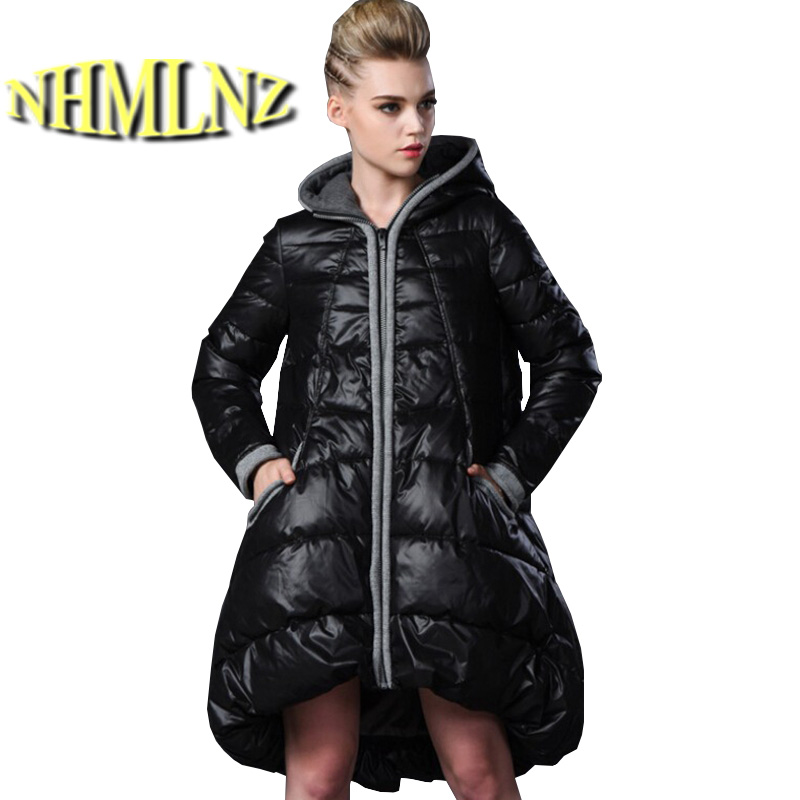 Europe Latest Women Fashion Winter Coat Elegant Hooded Thick Super Warm Down jacket Big yards Irregular Medium long Coat G2174 europe winter big yards women coat warm duck down down jacket elegant pure color casual thick hooded slim women short coat g0451
