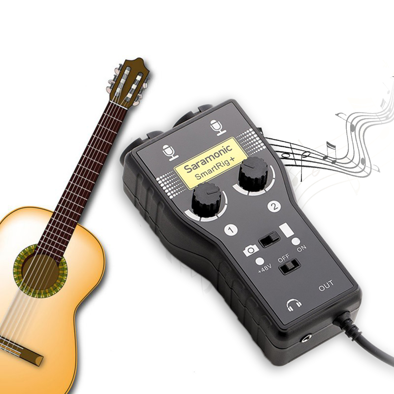 Professional Guitar Adapter Audio Recording Mixer with Dual Channel for Music Maker Compatable with iphone 7 ipad ipod Sumsung
