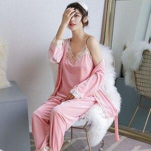 Image 3 - Yidanna פיג מה סט לנשים סקסי הלבשת גברת תחרה Nightwear שרוולים Homewear מקרית ארוך מכנסיים סתיו חליפת נקבה בד
