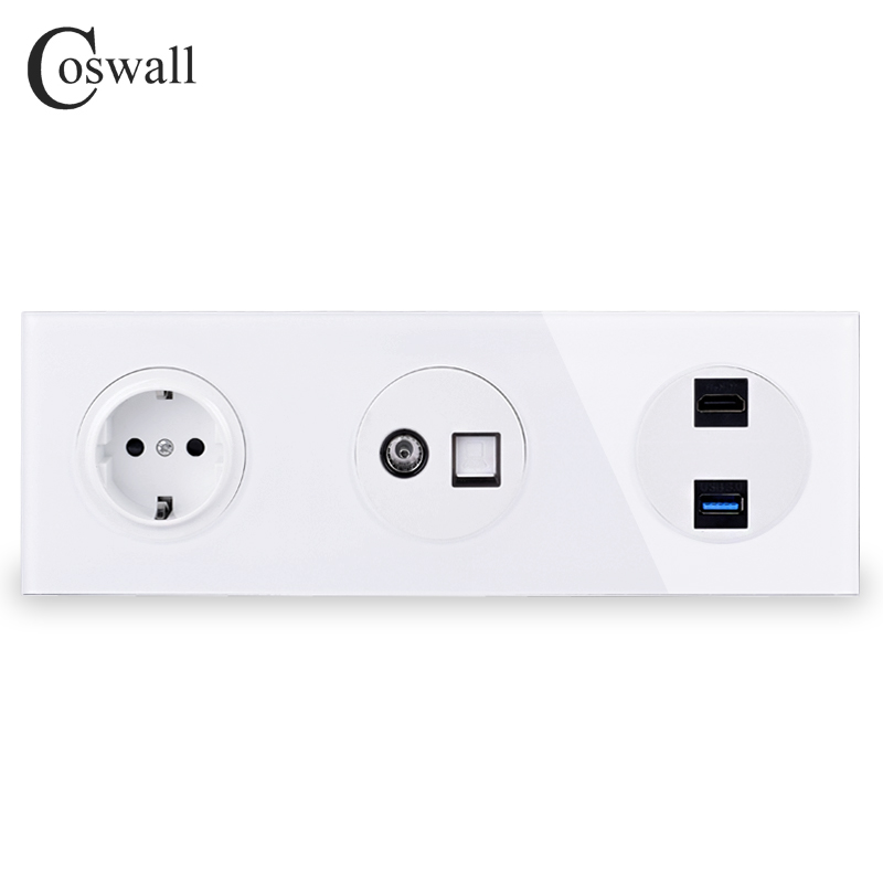 Coswall Crystal Glass Panel Wall Socket EU Power Socket + Female TV Jack With CAT5E RJ45 Internet Outlet + HDMI 2.0 USB 3.0 Port