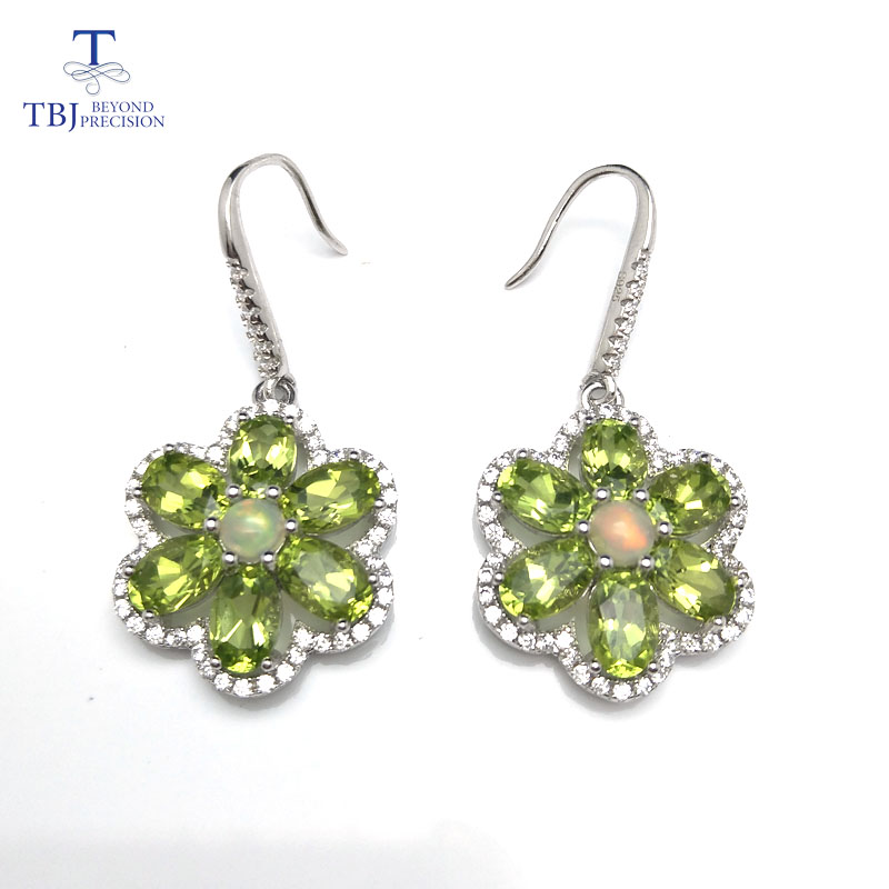 TBJ,925 silver hook earring with natural peridot and ethiopian opal colorful gemstone earring for lady fine jewelry with box tytw opal jewelry silver 925 colorful high quality female zircon lady jewelry simple earring wedding rhodium earrings for women