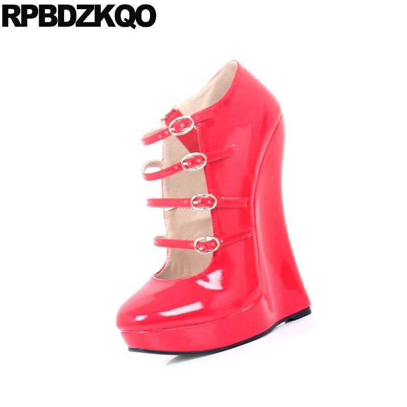 Gothique Talons Rouge Hauts Femmes Exotique bleu Grande Noir or Crossdresser Wedge Taille Chaussures 45 18 Cm 13 Fétiche 44 vin Sexy Rouge rose Danseuse Bout Pompes Lacets Rond 12 rouge AR8xHwp