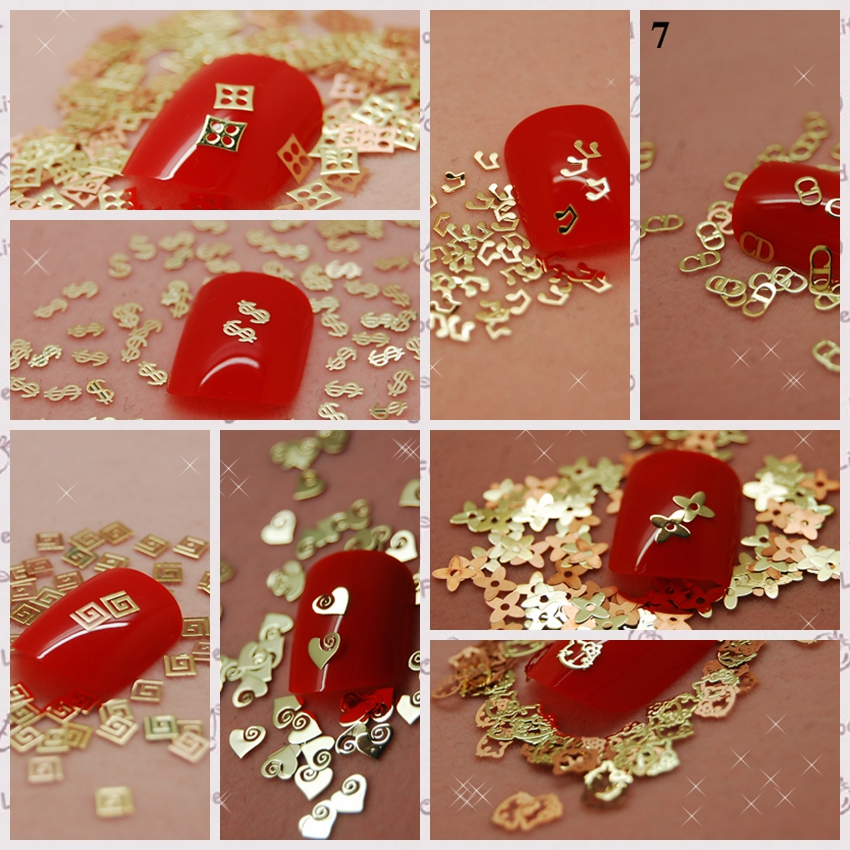 800pcs/lot Thin Tiny Music Note Letter Lo Go Pattern Gold Metal Nail Art Sequins Slice Decorations DIY Set Or Mix Wheel