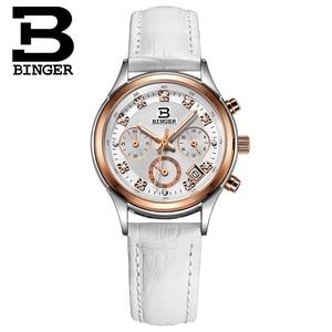 Image 3 - Binger Womens watches Switzerland luxury quartz waterproof Women clock genuine leather strap Chronograph Wristwatches BG6019 W6