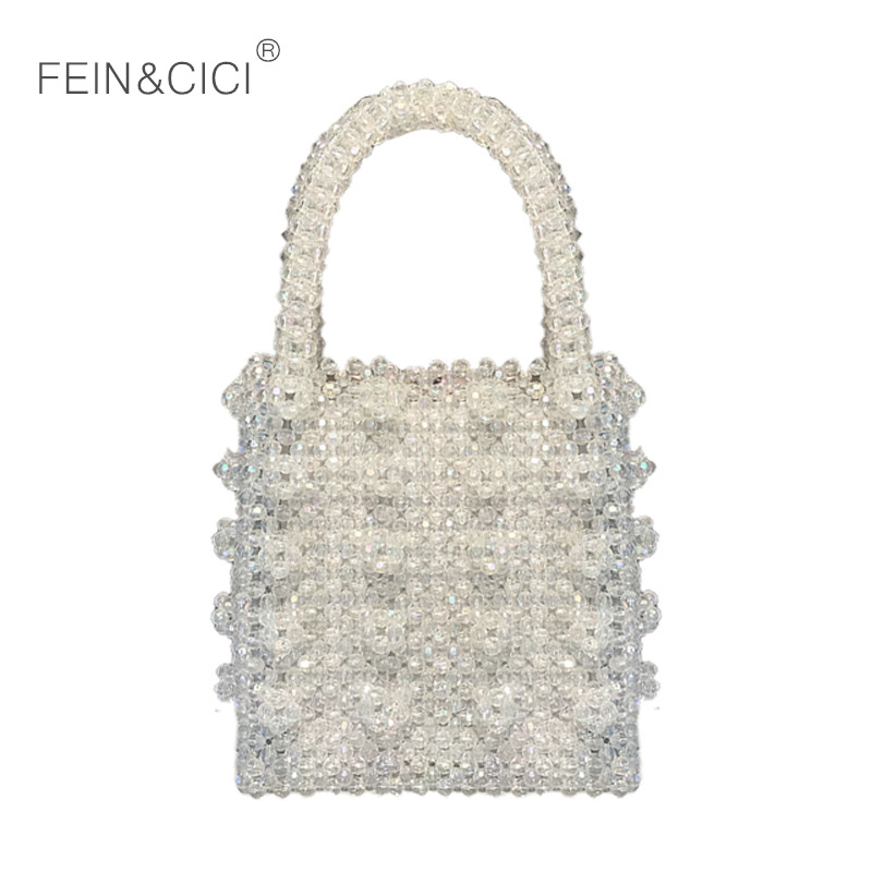 Pearls bag crystal beaded clear box totes bag women party handbag 2019 summer vintage luxury brand bag drop shipping wholesalePearls bag crystal beaded clear box totes bag women party handbag 2019 summer vintage luxury brand bag drop shipping wholesale
