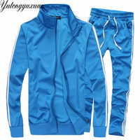 Mens Pure Color 2 Piece Set Autumn Warm Long Sleeve Hoodie Zipper Side Stripe Casual Tracksuits