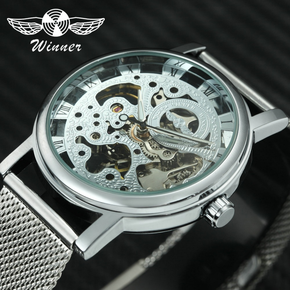 WINNER Fashion Skeleton Women Watches Mechanical Movement Silver Ultra Thin Mesh Band Roman Number Ladies Watch Top Brand LuxuryWINNER Fashion Skeleton Women Watches Mechanical Movement Silver Ultra Thin Mesh Band Roman Number Ladies Watch Top Brand Luxury