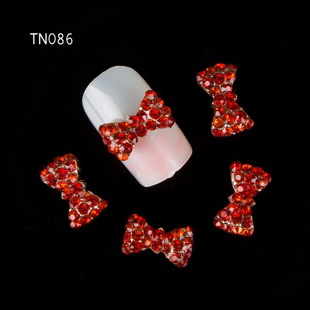 Blueness 10Pcs Red Bow 3D Alloy Nail Art Decoration Charms Studs Nails  Rhinestones DIY Metal Nail eb8c4ff56cdc