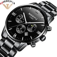 NIBOSI Quartz Wristwatches For Male Watches Luxury Brand Watch Men Stainless Waterproof Saat Rrkekler Siyah Heren