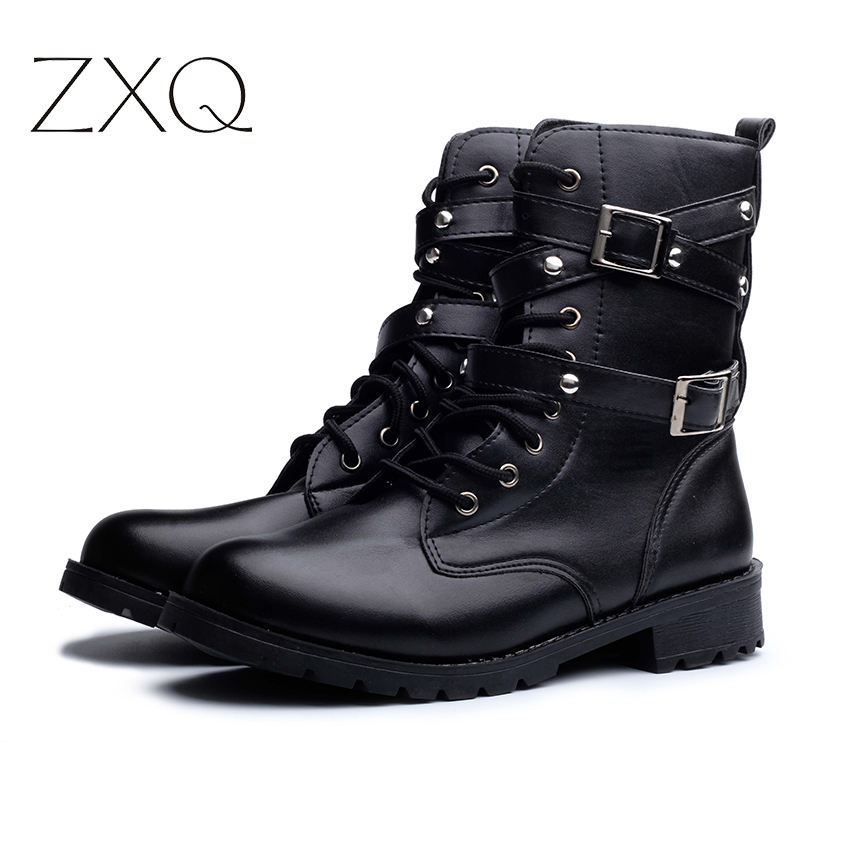 4d8fb859605f Hot Sale Fashion Women Motorcycle Boots Ladies Vintage Rivet Combat Army Punk  Goth Ankle Shoes Biker Leather Autumn women boots-in Ankle Boots from Shoes  on ...
