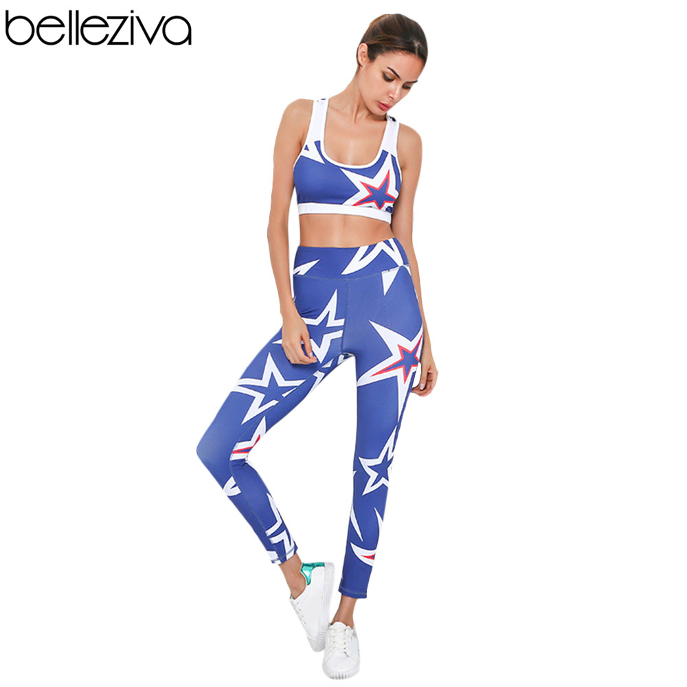 e8030df77fcd Belleziva Women Yoga Sets Star Print Sexy Fitness Workout Clothing Gym  Running Girls Slim Dance 2 Pieces Tracksuit Sport Outfit