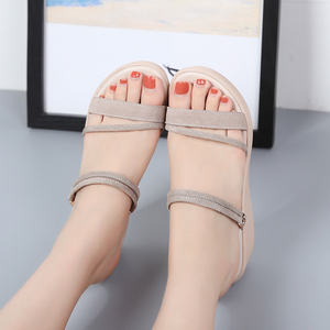 Image 5 - STQ 2020 Women Sandals Suede Leather Wedges Heel Flat Sandals Women Beach Gladiator Sandals Ladies Platform Sandals Shoes 508