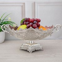 Upscale European Household Zinc Alloy Bright Silver Fruit Plate Fashion Creative Living Room Coffee Table Fruit Bowl Restaurant
