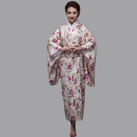 Hot Sale Fashion Women Kimono Yukata Haori With Obi Pink Japanese Style Evening Party Dress Asian Clothing Flower One Size HW045