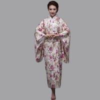 Hot Sale Fashion Women Kimono Yukata Haori With Obi Pink Japanese Style Evening Party Dress Asian Clothing Flower One Size HW045