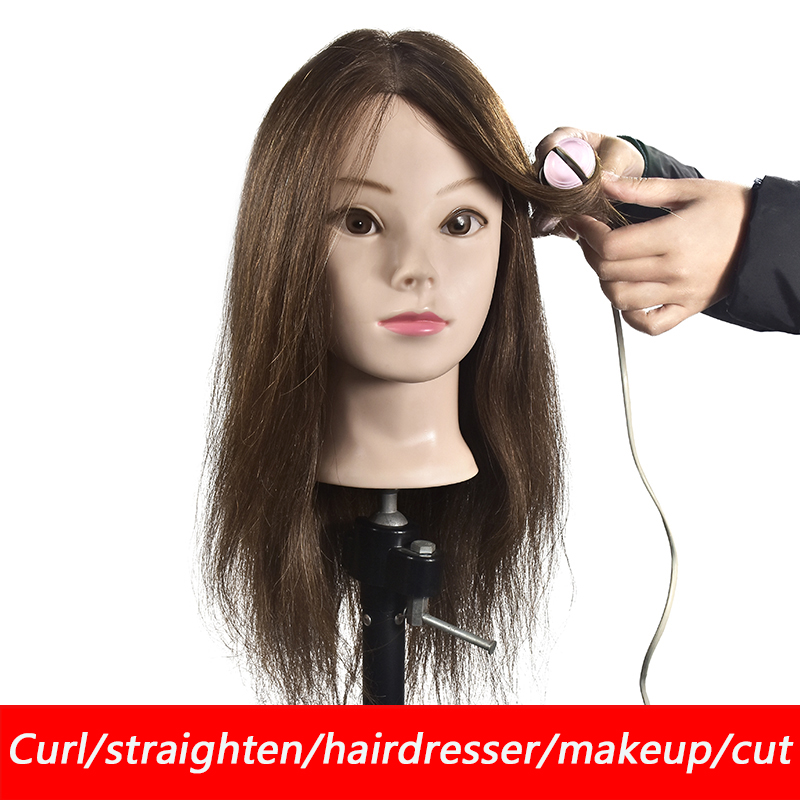 100% real human hair head dolls for hairdressers 16 brown training head professional Mannequin with small clamp,can be curled100% real human hair head dolls for hairdressers 16 brown training head professional Mannequin with small clamp,can be curled
